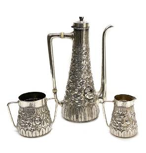 Gorham Sterling Silver Repousse Chocolate Set, 1890