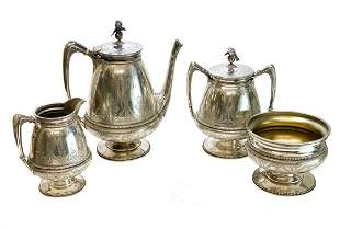 Whiting Sterling Silver 4 Piece Tea Serving Set