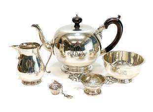Asprey London 5 Piece Sterling Silver Tea Set