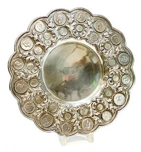 833 Porto Silver Coin Mounted Tray Charger