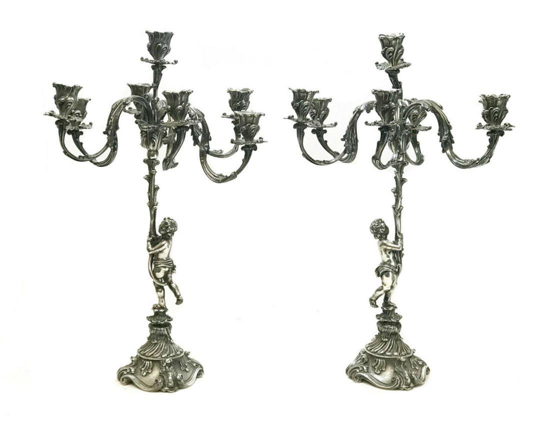 Buccellati Sterling Silver 7-Light Cherub Candelabras