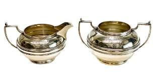 Israel Freeman Sterling Silver Sugar & Creamer Bowl