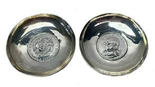 2 Chinese Silver Inset Coin Dishes Kwang-Tung Province