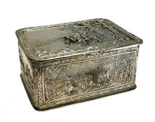 Continental Silverplate Hand Chased Box, 19th C