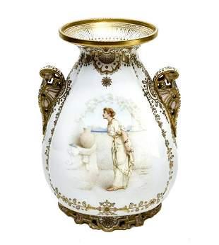 Copeland's England Enamel Jeweled Twin Handled Urn