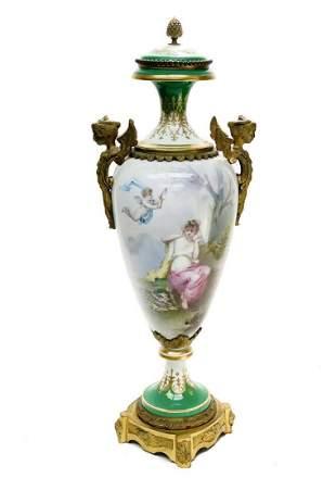 Sevres France Porcelain Hand Painted Decorative Urn