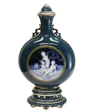 Minton Porcelain Pate-Sur-Pate Moon Flask Vase, 1881