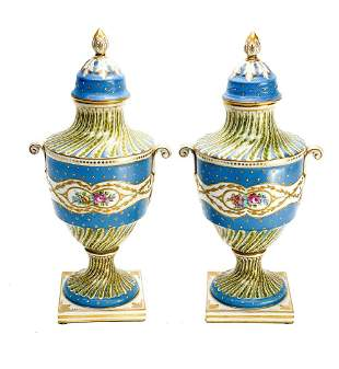 Pair Sevres Porcelain Hand Painted Twin Handled Urns
