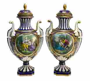 Pair Sevres France Porcelain Covered Urns, 19th C.