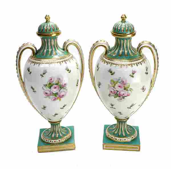 Pair French Sevres Style Porcelain Twin Handled Urns