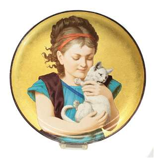 Minton Porcelain Wall Charger by Foster, Girl with Cat