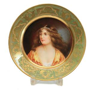 Royal Vienna Cabinet Portrait Plate of a Beauty Signed