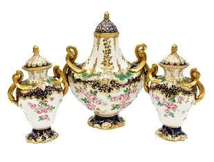 Copeland Spode England Porcelain 3 Piece Garniture Set