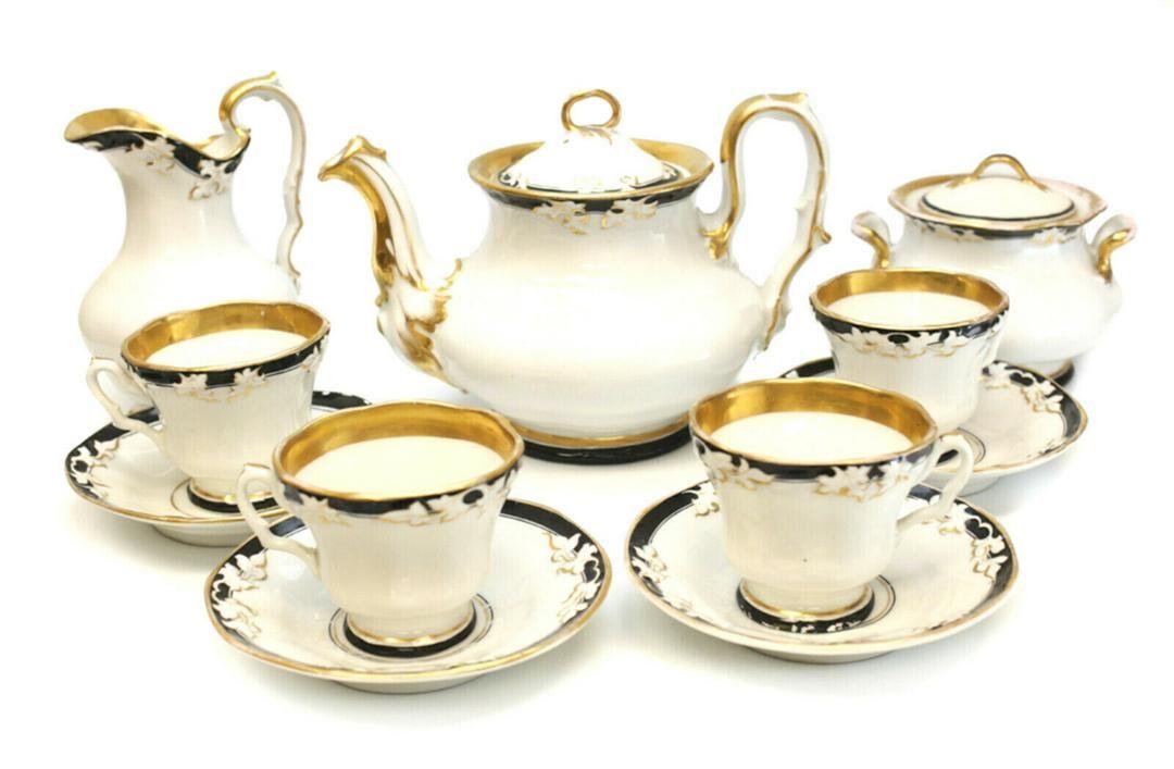 KPM Porcelain Tea Service for 4, Black & Gilt Rims