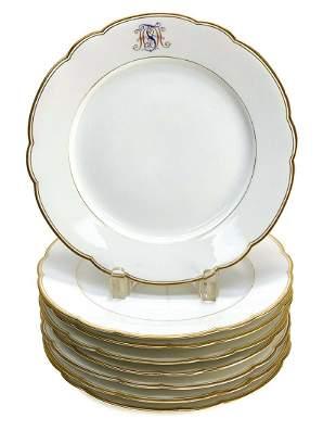 8 KPM Berlin Porcelain Scallop Rimmed 9.75 inch Plates