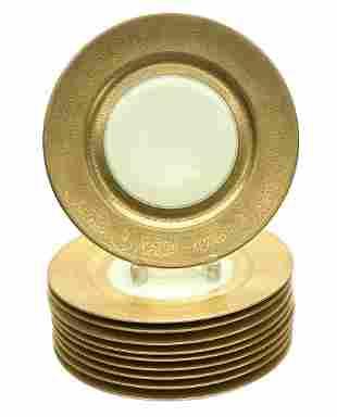 10 Furstenberg Porcelain Gold Encrusted Dinner Plates