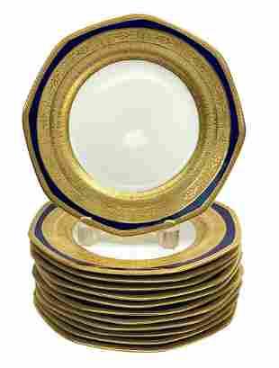 12 George Jones & Sons Crescent Porcelain Plates