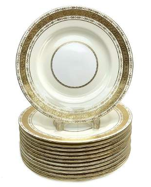 12 Minton for Tiffany & Co. Porcelain Dinner Plates