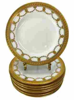 8 Coalport Tiffany Gilt Porcelain Bread Plates
