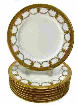 8 Coalport for Tiffany Gilt Porcelain Dinner Plates