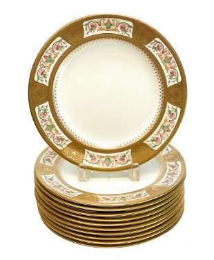 10 Royal Chelsea Porcelain Dinner Plates, circa 1920