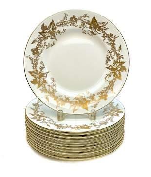12 Minton England Porcelain Dinner Plates, circa 1930