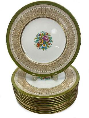 12 English Dinner Plates with Gilt Boarder by Cauldon