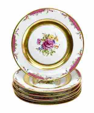6 Rosenthal Selb Bavaria Dinner Plates in Queen's Rose