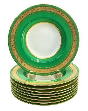 9 Minton England Green & Gilt Porcelain Soup Bowls,