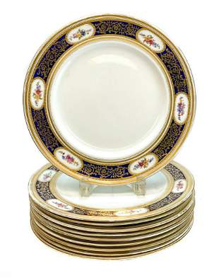 10 George Jones Crescent Porcelain Dinner Plates, c1910