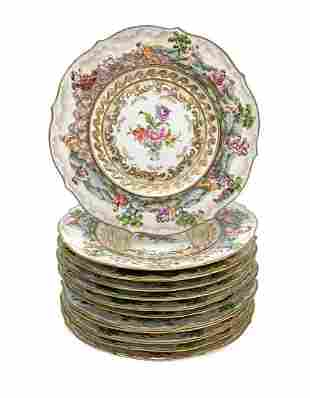 12 Capodimonte Porcelain Hand Painted 9 inch Plates