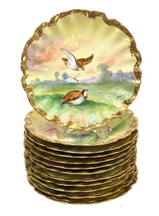 12 Limoges France Game Bird Cabinet Plates, circa 1940