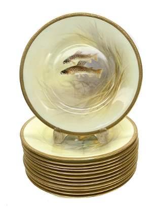 12 Royal Doulton England Porcelain Fish Plates