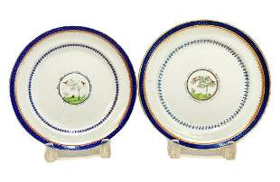 Chinese Export Porcelain Cobalt Blue & Gilt Plates