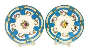 Pair Sevres France Hand Painted Porcelain Cabinet