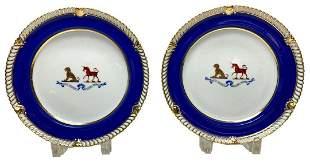 Pair Armorial Chamberlain Worcester Porcelain Plates