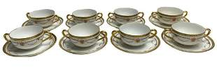 8 Bernardaud Limoges Porcelain Bouillion Cups & Saucers