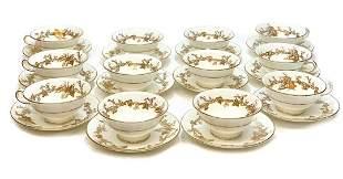 12 Minton England Porcelain Cup & Saucers, circa 1930.