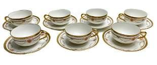 7 Bernardaud Limoges Porcelain Cups & Saucers with
