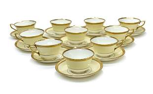 10 Royal Worcester England Porcelain Cup & Saucers