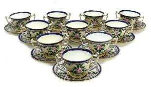 10 Royal Doulton Twin Handled Cup & Saucers