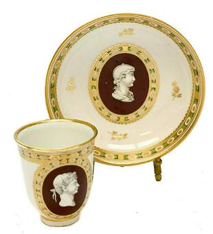 Imperial Royal Vienna Porcelain Cameo Cup & Saucer
