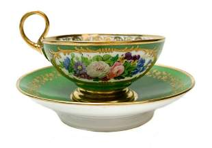 French Feuillet Hand Painted Porcelain Cup and Saucer