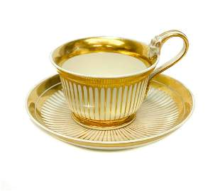 Imperial Royal Vienna Porcelain Gilt Striped Cup Saucer