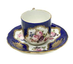 Sevres France Hand Painted Porcelain Cup and Saucer