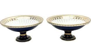 Manufacture De Sevres Porcelain Cobalt Footed Bowls