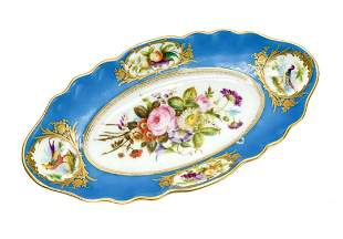Sevres Style Hand Painted Porcelain Oval Dish