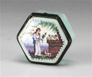 Handpainted Porcelain Enamel Hinged Snuff Box 18th C