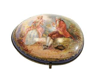 Sevres Hand Painted Porcelain Box, 19th Century