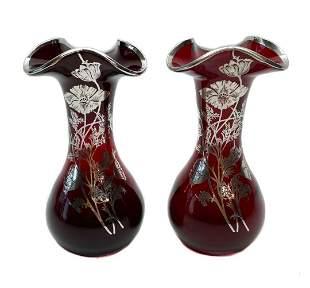 Pair Midcentury Floral Silver Overlay Tri-Lobbed Vases